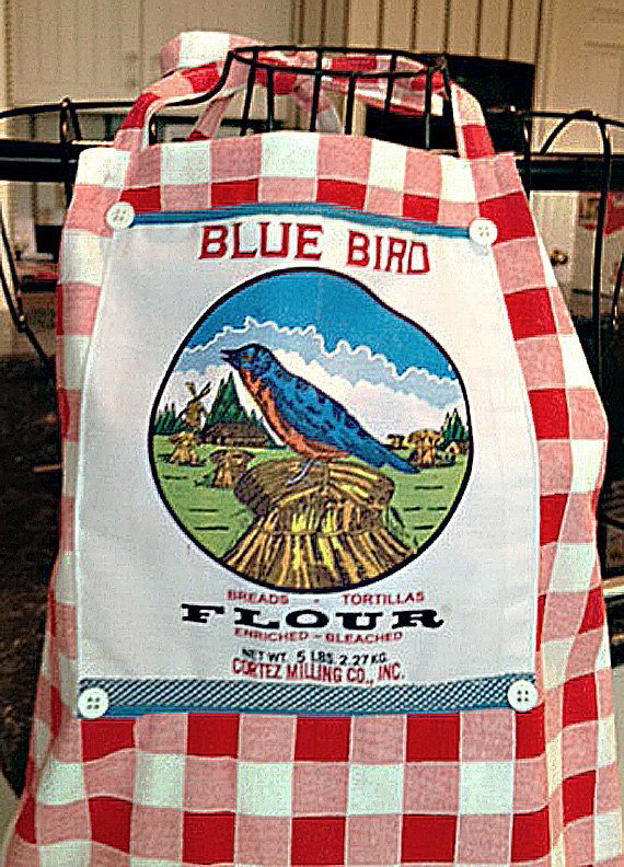 Bluebird Flour Sack Bib Apron by TeaLadyPillows on Etsy, $35.00