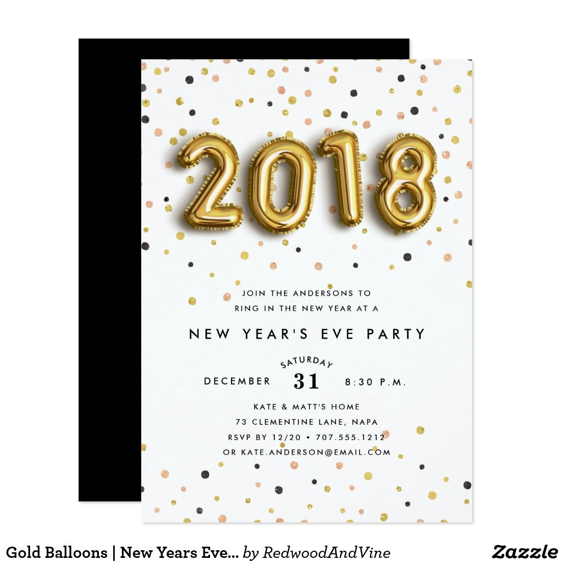 gold balloons new years eve party invitation