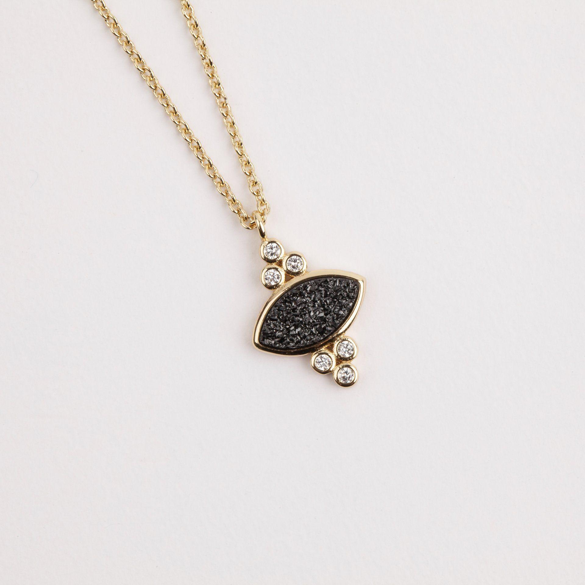 Gemstone eye pendant with black druzy gemstone elegant and shapes