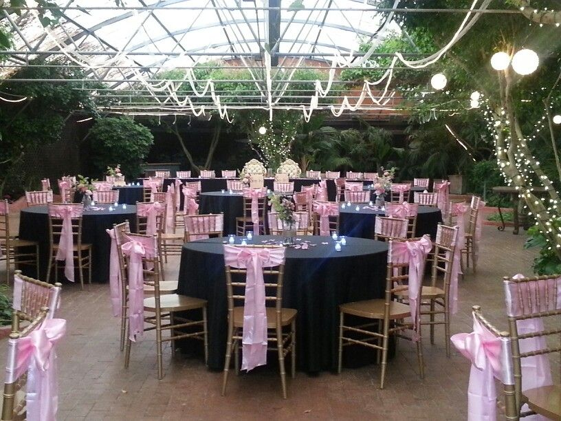 Pink And Black Wedding Reception At Boojum Tree Hidden Gardens In