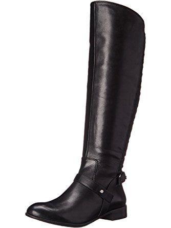 f2ab09ba5e3 Anne Klein Women's Kahlan Wide Calf Leather Riding Boot, Black ...