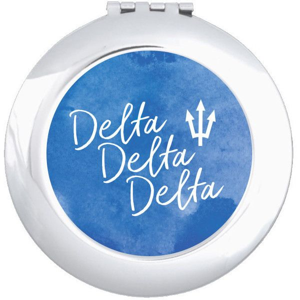Tridelta Delta Delta Delta Watercolor Script Pocket Mirror Sorority... ($12) ❤ liked on Polyvore featuring beauty products, beauty accessories, bath & beauty, light blue and makeup & cosmetics
