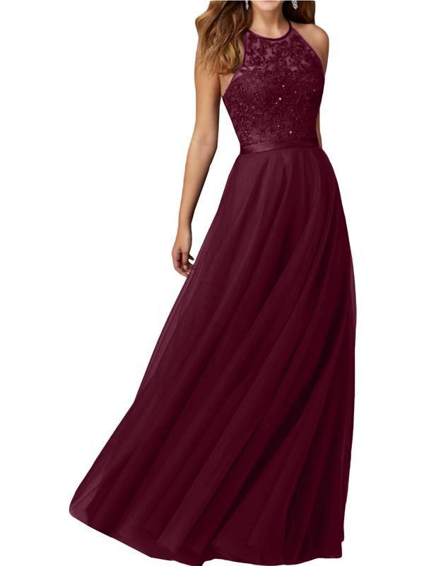 Photo of LaceShe Women's Flattering Sleeveless Bridesmaid Gown Dress
