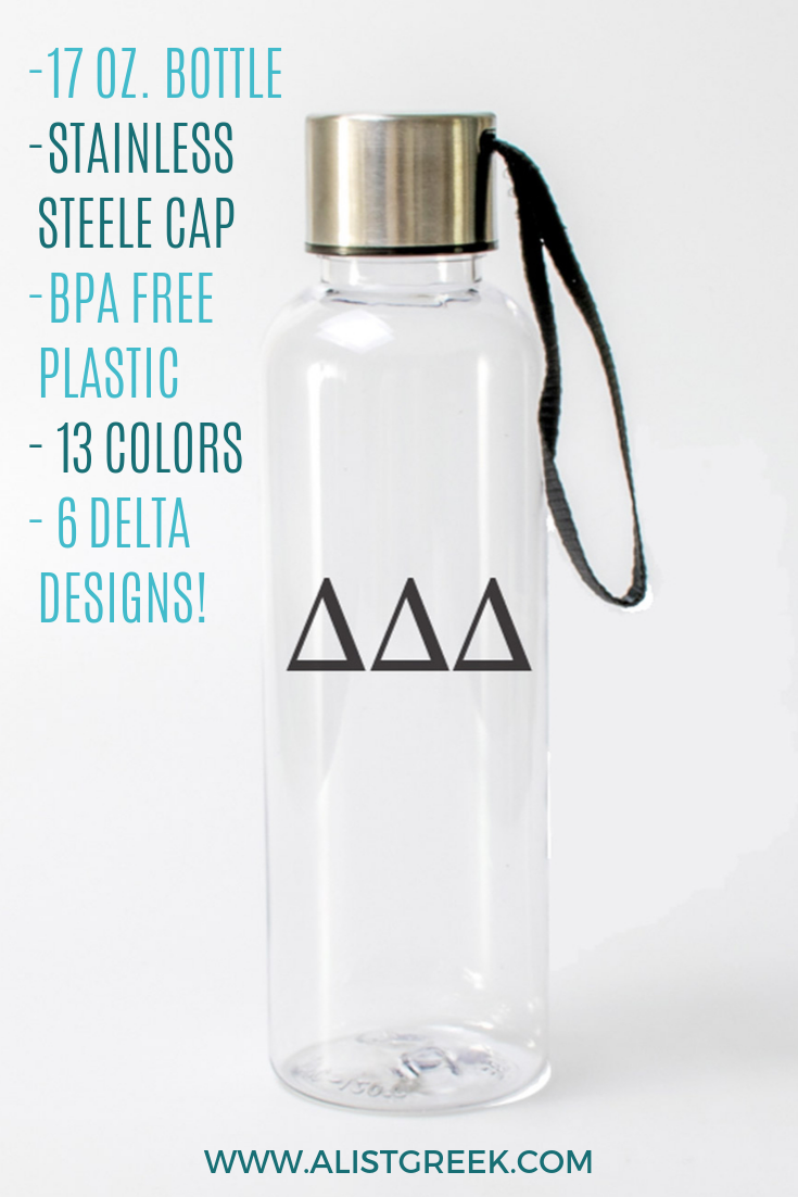 Stay hydrated with this sleek and modern 17 oz. plastic Delta Delta Delta water bottle with a stainless steel screw-on lid. Choose from our 6 stylish designs & 13 colors to match your water bottle to your style! Shop now at www.alistgreek.com! #sororitylife #greekletters #sororitywaterbottle #waterbottle #sororitygift #gifts #biglittle #initiation #graduation #accessory #custom #biddaygifts #deltadeltadelta #tridelta #ddd #delta