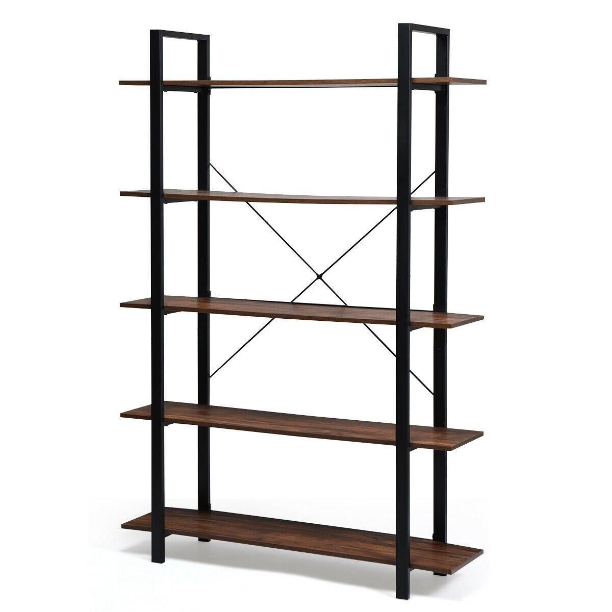 5 Tiers Bookshelf Industrial Bookcases Metal Frame Shelf Stand Industrial Bookcases Frame Shelf Display Shelves