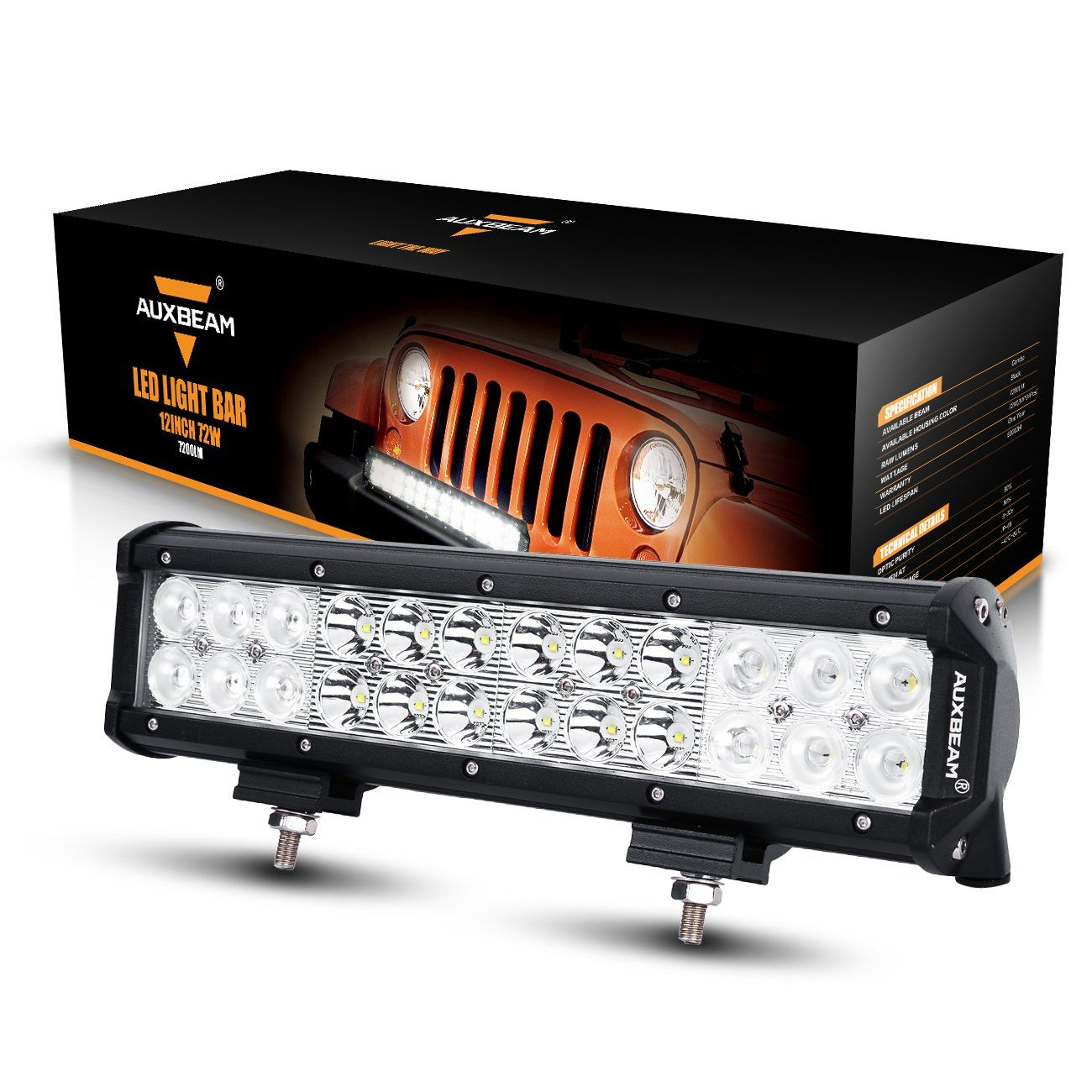 Amazon Com Auxbeam Led Light Bar 12 72w Driving Light 24pcs 3w Combo Beam Waterproof For Off Road Truck Car Mi Bar Lighting Led Light Bars Best Led Light Bar