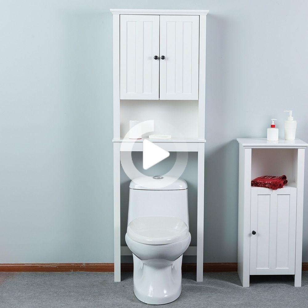 Badezimmer Uber Der Toilette Platzsparschrank In Weiss Traditionell Bodenschrank Lackiert In 2020 Schrankturen Badezimmer Offenes Regal