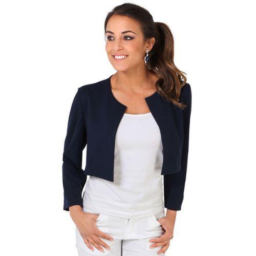 krisp femme bol ro veste courte tailleur top manches 3 4. Black Bedroom Furniture Sets. Home Design Ideas