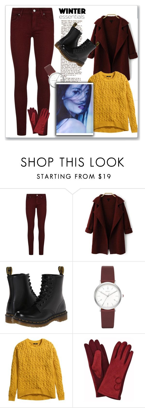 """""""Rhubarb and Custard"""" by niaoffcal ❤ liked on Polyvore featuring Paige Denim, Dr. Martens, DKNY and H&M"""