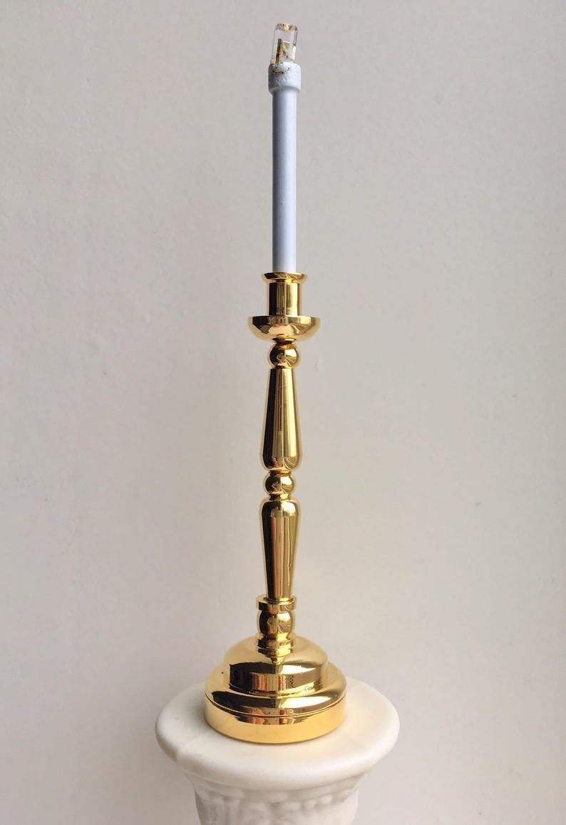 1 6 Scale Brass Candlestick Lamp Led Battery Operated Lights Etsy Candlestick Lamps Brass Candlesticks Candlesticks