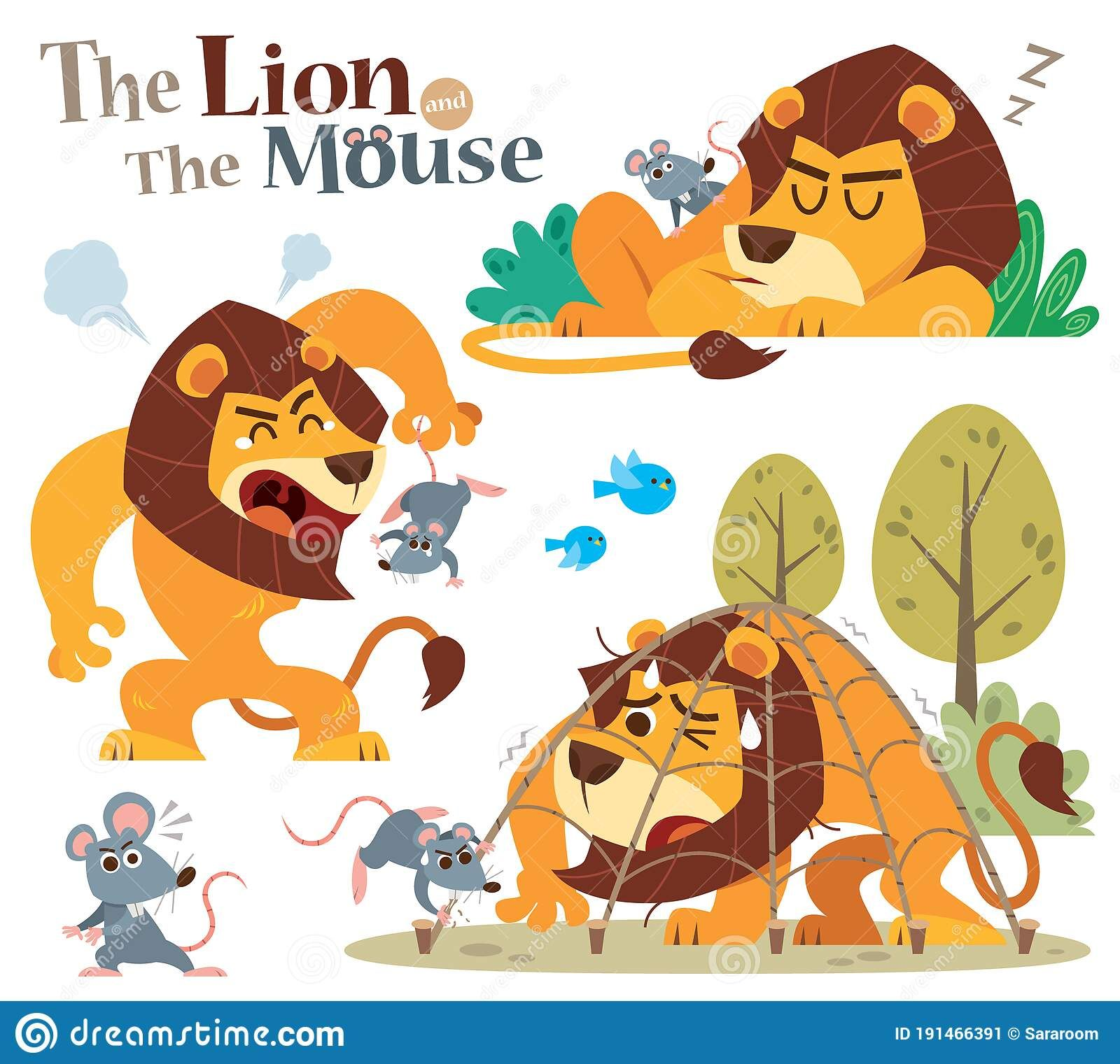 The Lion And Mouse Stock Vector Illustration Of Funny