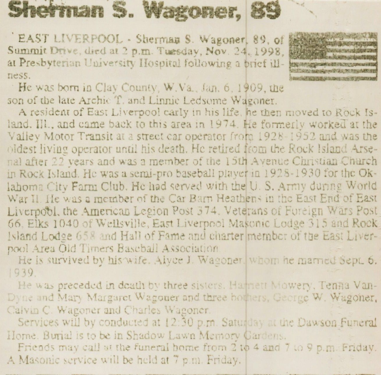 Sherman Wagoner Obit - Photos and Stories — FamilySearch.org. Mike's Uncle.