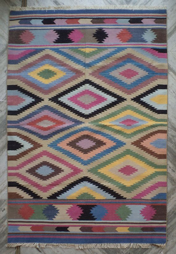 Colorful Cotton Dhurrie Rug 4x6 Flat Weave Southwestern Indian Moroccon Tribal