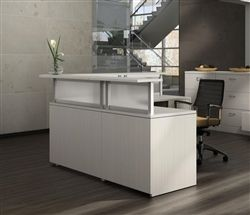 Contemporary White Reception Desk With Frosted Transaction Screen