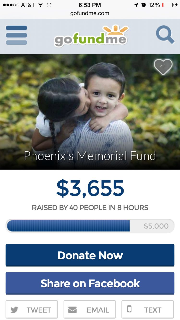 A friend of My Grammy's had a three year old son Phoenix. Sadly he lost his life but like a Phoenix has risen to the heavens. Please follow the link to donate and help support his family.    http://www.gofundme.com/phoenixleal