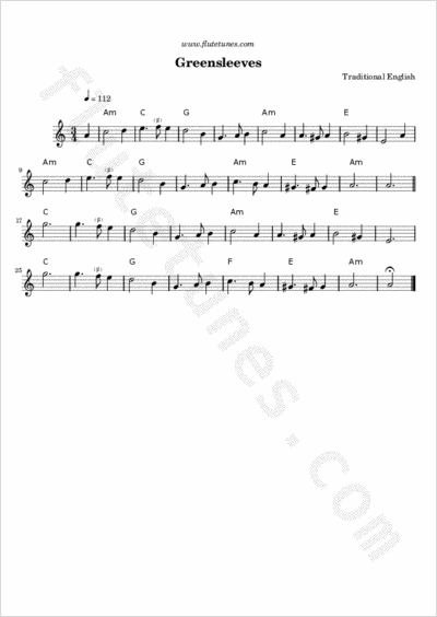 Greensleeves (What Child is This?) for Flute and Guitar chords ...