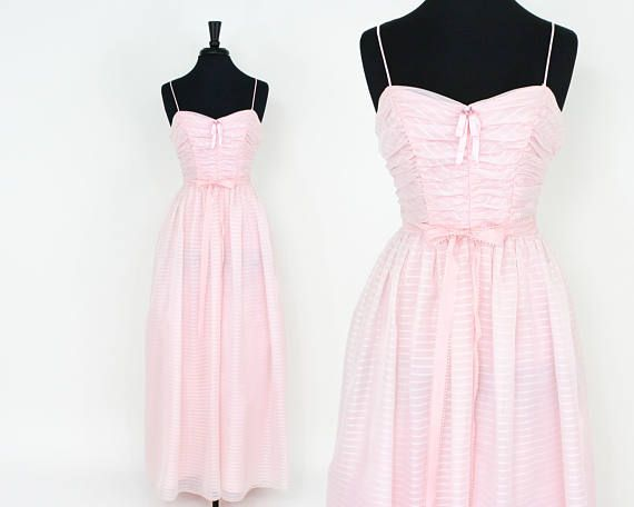 Lovely pale pink striped prom dress from the 1960s ~ Ruching and ...