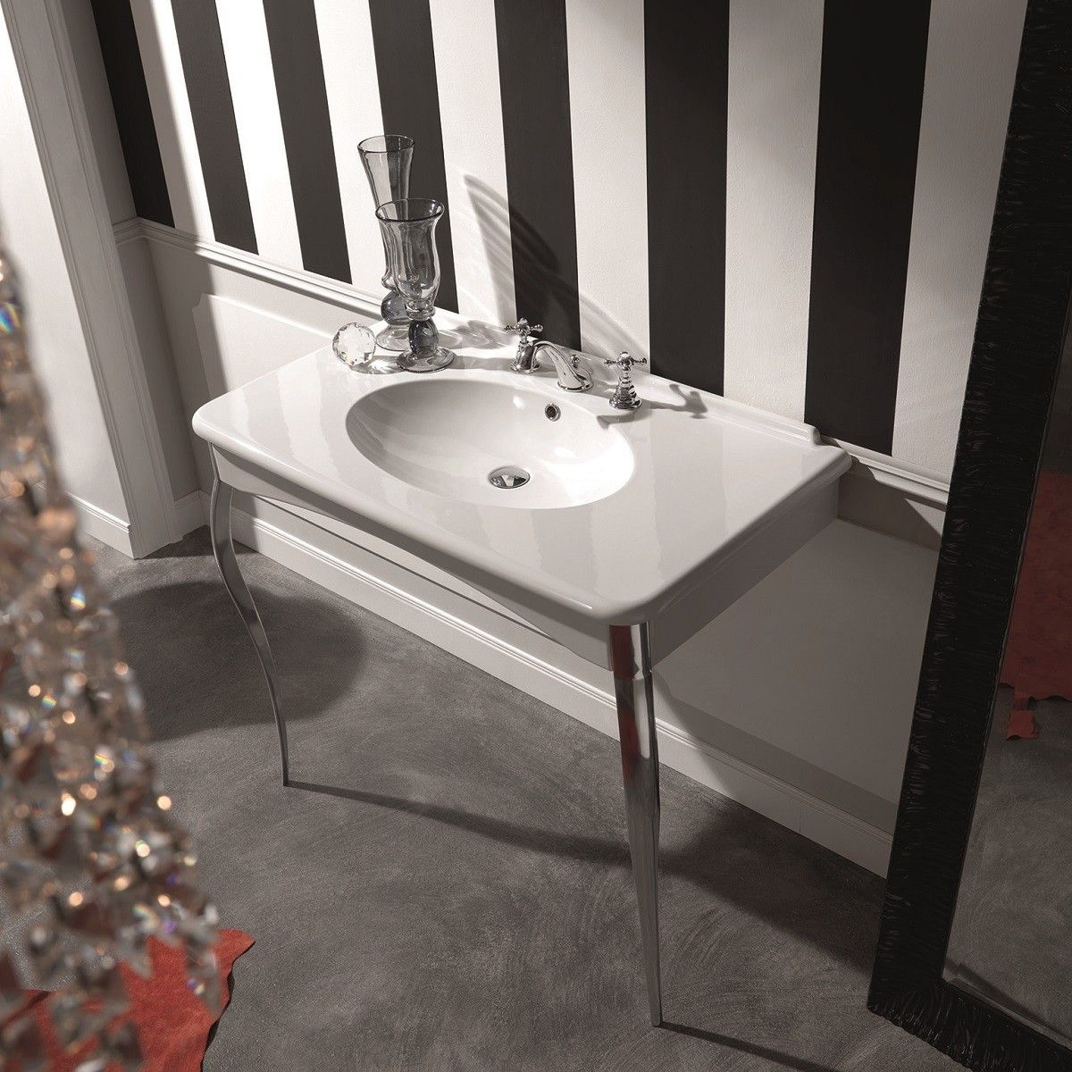 Wall Mount Bathroom Sink With Chrome Legs