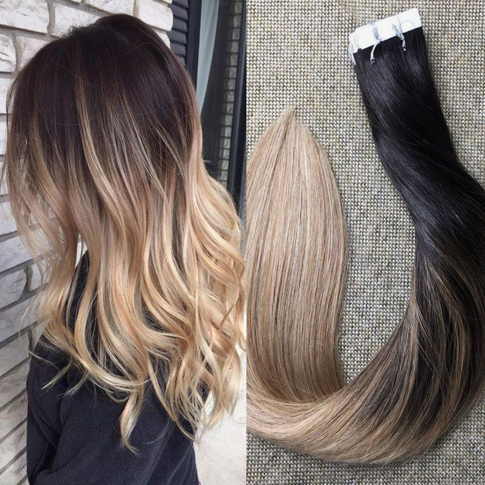 Full Shine 16 Balayage Tape In Hair Extensions Ombre Color 1b Off
