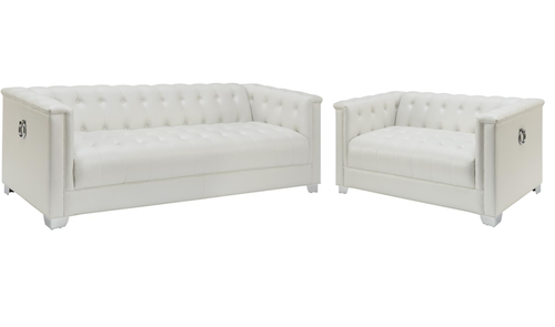 2 Pc White Tufted Sofa Loveseat Set With Chrome Handles 505391 Sofa And Loveseat Set Loveseat Sofa Love Seat