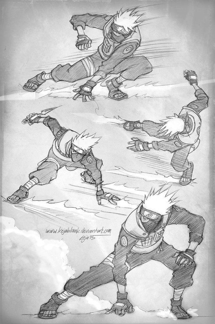 Fighting Kakashi Poses By Kejablank Deviantart Com On Deviantart Anime Poses Reference Manga Poses Art Poses