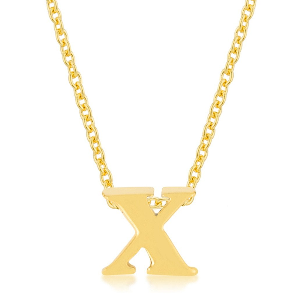 X gold intital pendant k gold plated simple initial pendant with