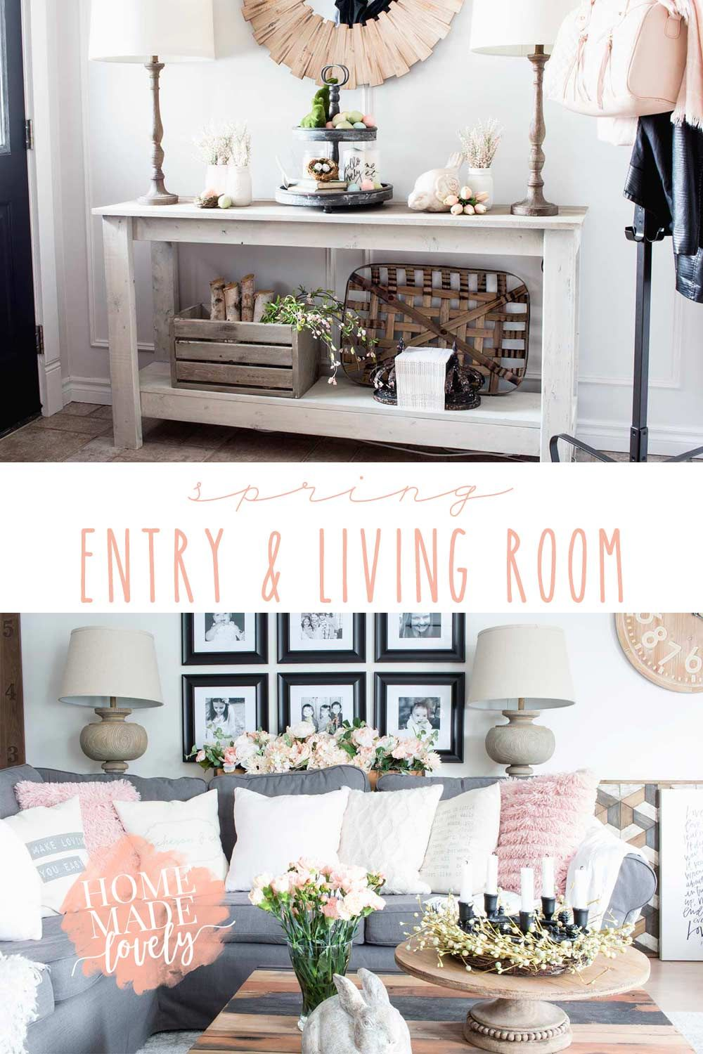 Our Spring Entry and Living Room Canadian Bloggers Home