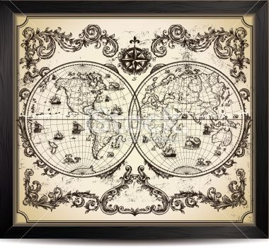Vintage world map in wood frame vector art free vector art and vintage world map stock vector art 23102350 istock gumiabroncs Gallery