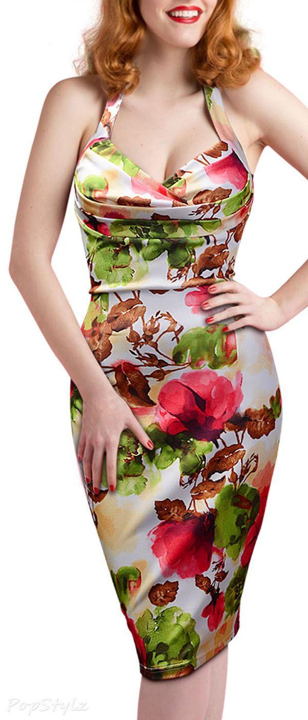 Missmay Floral Print Halter Retro1950s Rockabilly Party Dress