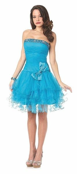 Cute Short Turquoise Homecoming Dress Poofy Skirt Tulle Strapless ...