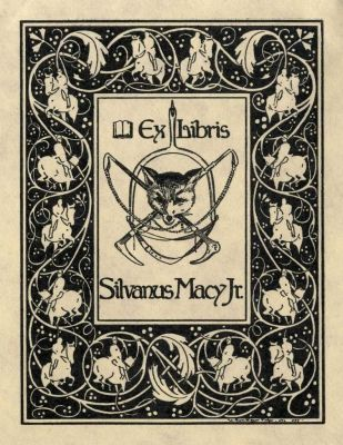 Bookplate by William Edgar Fisher for Silvanus Macy Jr., 1899