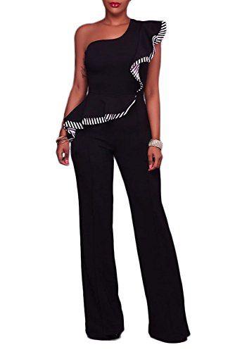 e22d5d53bf9 Elisan Women s Elegant Black One Shoulder Falbala Design Jumpsuits Wide  Pants Long Jumpsuits Rompers