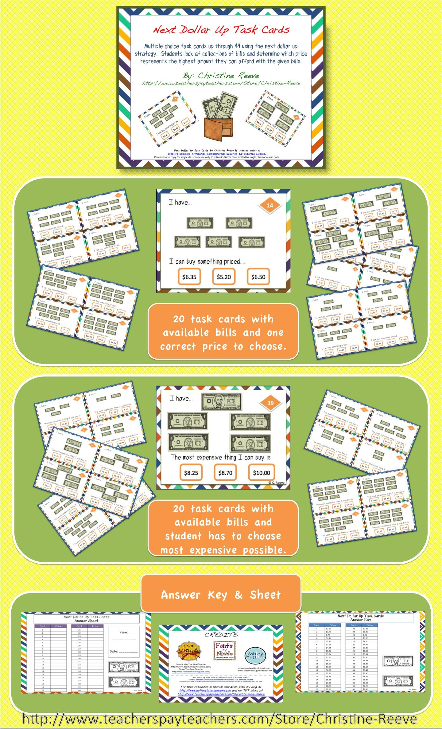 Next Dollar Up Task Cards Money Skills Special Education