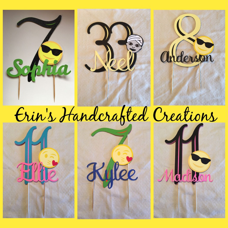 Custom Personlized Name And Age Emoji Birthday Cake Topper By ErinsHandcraftedCrea On Etsy