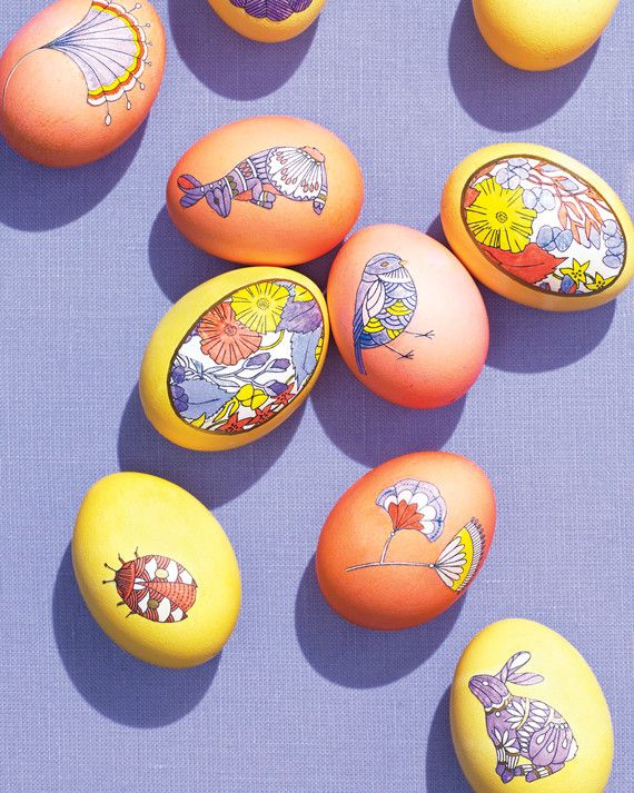 Love coloring? Then you'll love these creative color-in-the-lines eggs! The clip-art line drawings make it easy to apply graphic patterns to colorful dyed eggs.