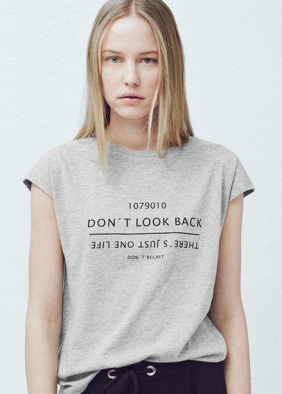 Mango T Shirt Femme Magasin Message Blanc