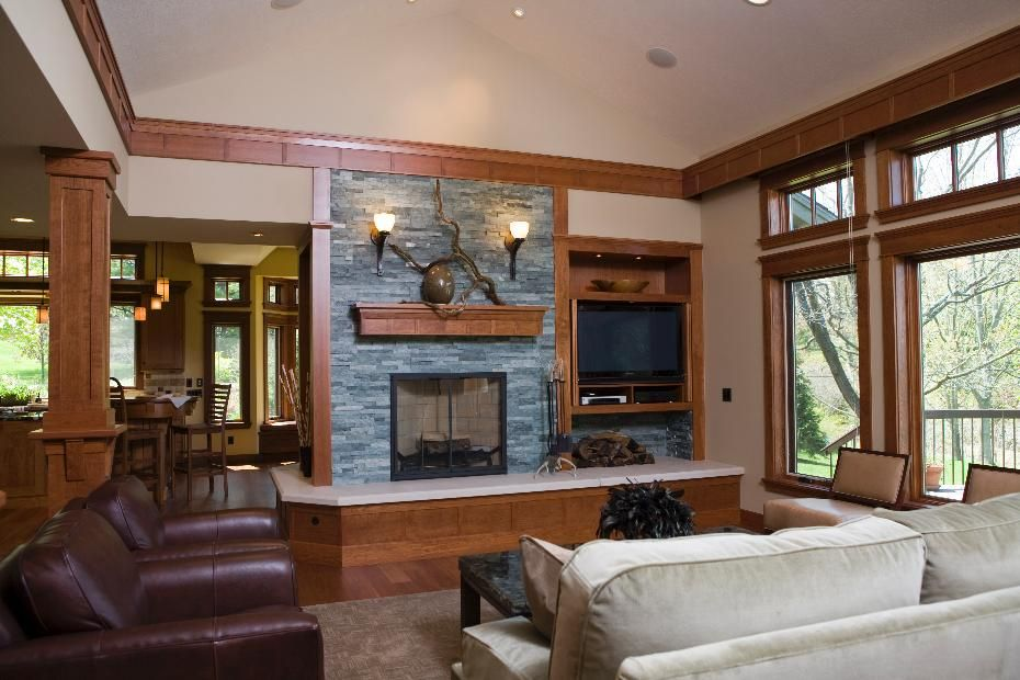 Frank Lloyd Wright Inspired Residence  Great Room And GREAT Fireplace