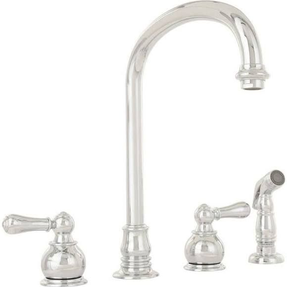 American Standard 4751.732.002 Polished Chrome Hampton Two Handle Bottom  Mount Kitchen Faucet With Sidespray