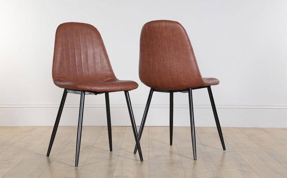2 4 6 8 Brooklyn Tan Leather Dining Room Chairs Black Leg
