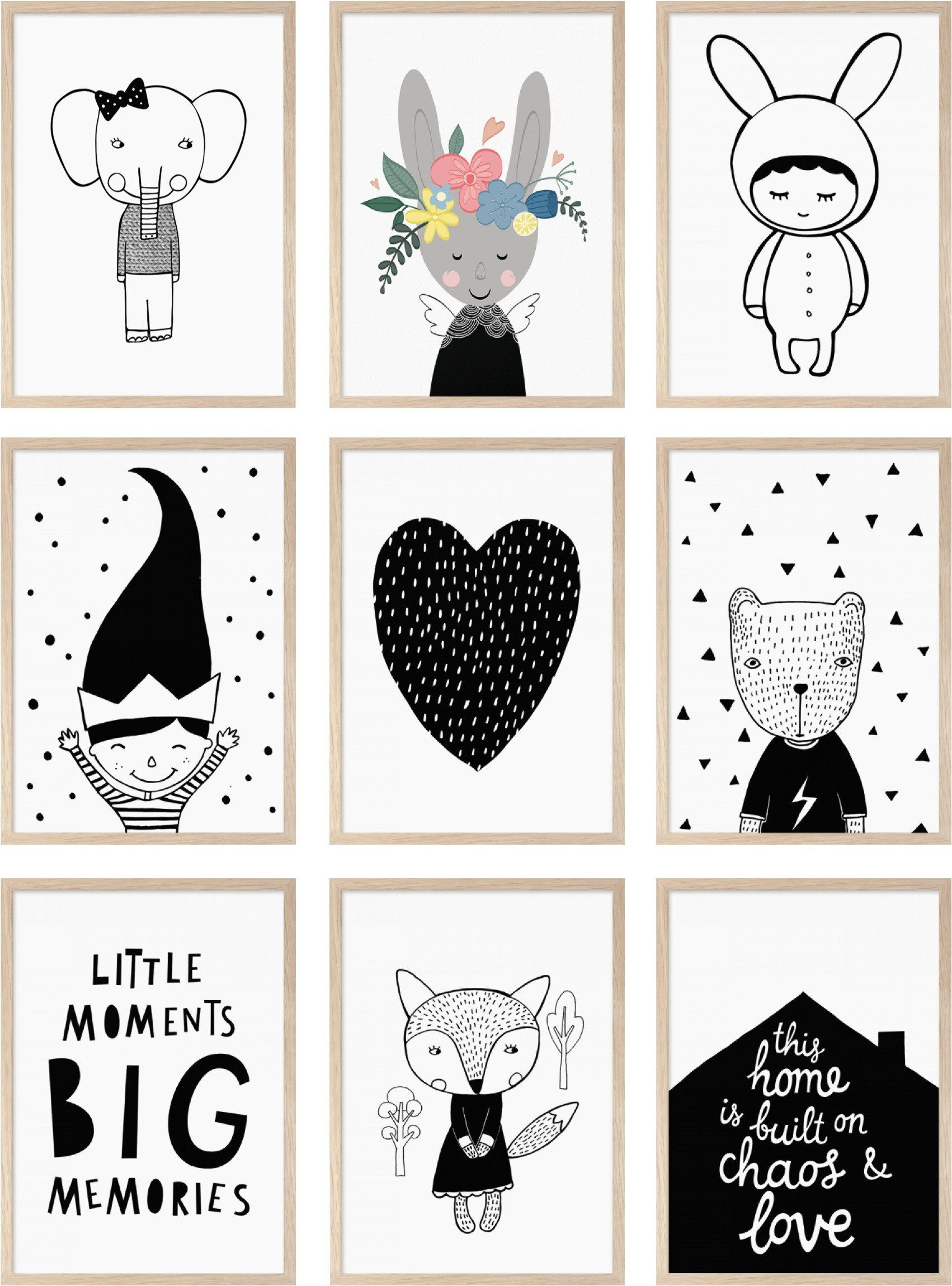 Charmant Monochrome Posters Kids Room