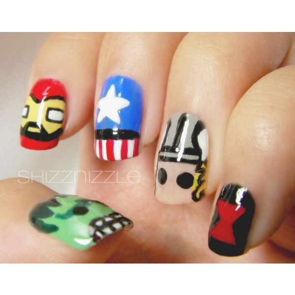 Creative Colorful Nail Art Inspired By The Avengers Liked On