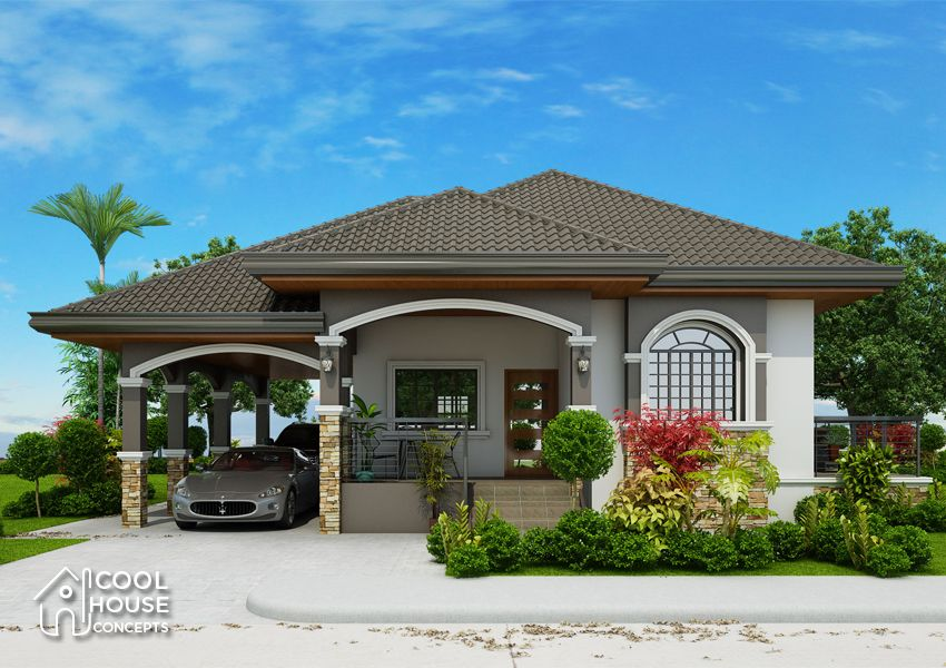 One Storey Home Plan Perspective View Beautiful House Plans Bungalow House Design Bungalow Style House Plans