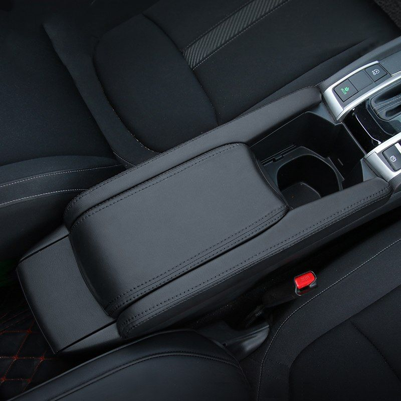 Leather Car Console Armrest Box Carace Honda Civic Car Console Honda Civic Accessories
