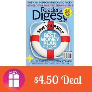 $4.50 for Reader's Digest is today's magazine deal 12 issues for $4.50 (only on June 11) http://freebies4mom.com/readers-digest/