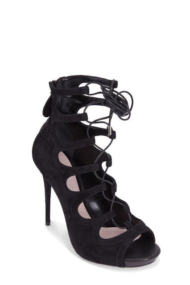 fd6e037d0c6d Alexander McQueen - Black Suede Lace-Up Cage Sandal
