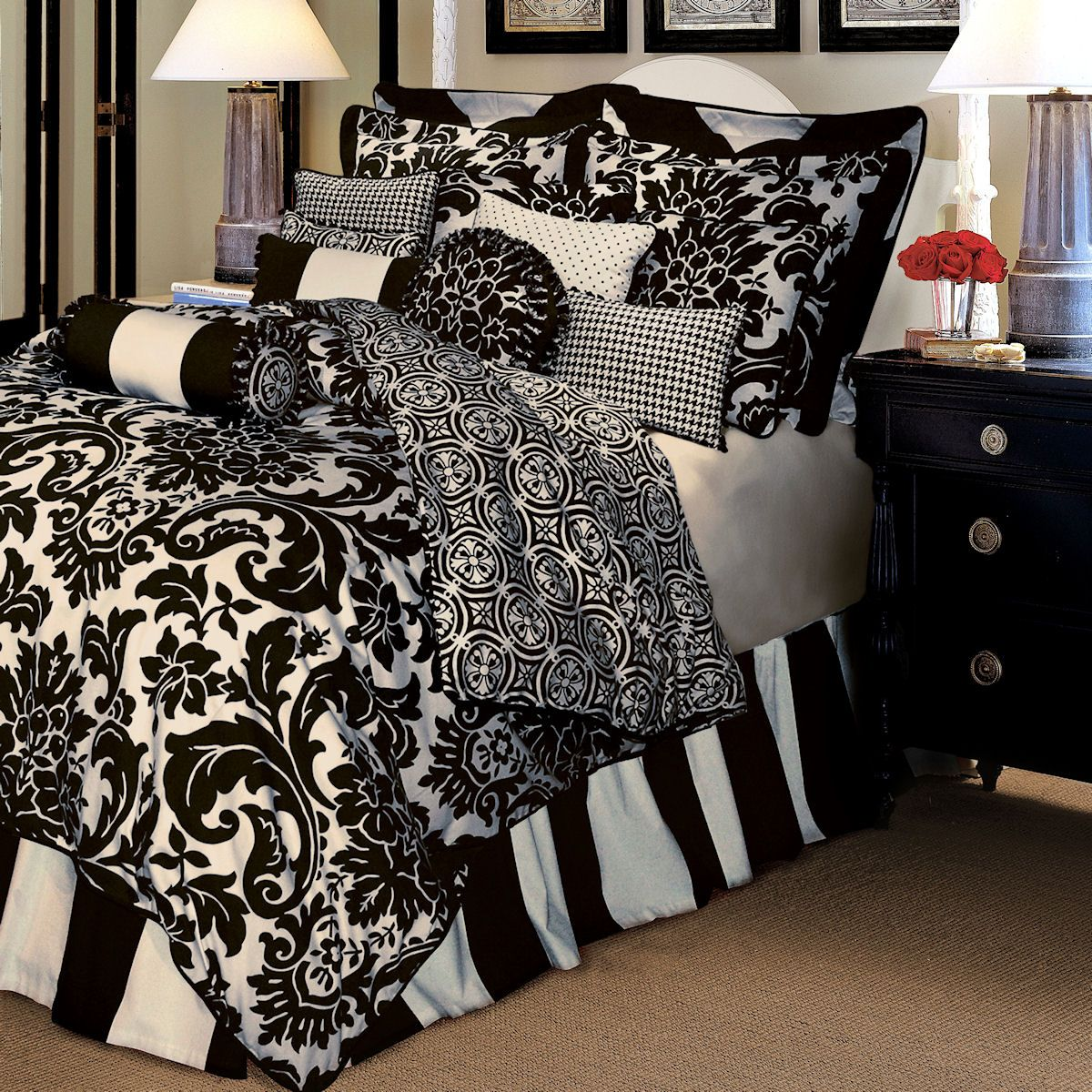 black and white king size comforter sets Image detail for   Comforter Sets Rose Tree Luxury Bedding  black and white king size comforter sets