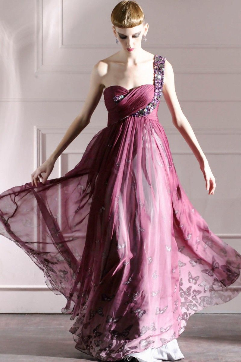 A Line Beaded One Shoulder Full Length Evening Prom Dress Formal ...