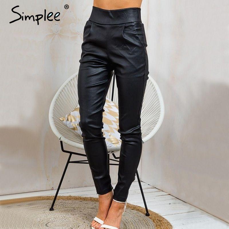 Simplee Herbst schwarz dünne bleistift hosen capris Mode streetwear casual hosen leggings Hohe taille tasche reißverschluss hosen hosen