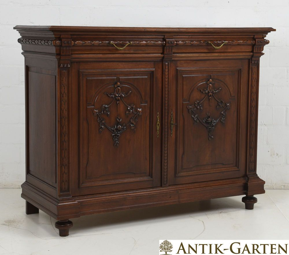 antik anrichte nussbaum massiv jugendstil gr nderzeit 1900 kommode sideboard m bel pinterest. Black Bedroom Furniture Sets. Home Design Ideas