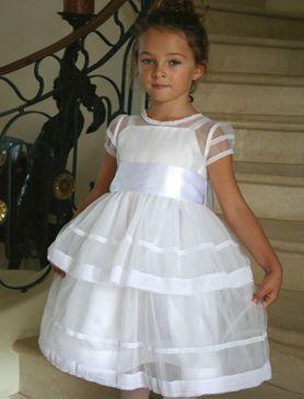 Bianco tulle e pizzo ragazze si vestono con telaio del raso